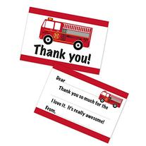 Fire Truck Birthday Fill In Thank You Cards for Boys