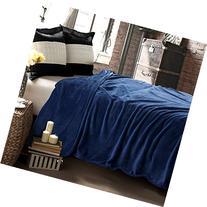 Bedsure Flannel Fleece Luxury Blanket Navy Queen Size