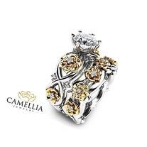 Floral Moissanite Engagement Ring Set 14K 2 Tone Gold