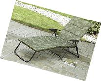 Folding Padded Sling Chaise Lounger Green Outdoor Lounge