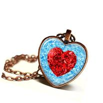 Frozen Ice Red Heart Shaped Glass Pendant Necklace