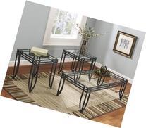 FurnitureMaxx Matrix 3 in 1 Accent Table Set w/ Black Metal