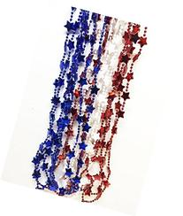 GIFTEXPRESS 1 DOZEN Patriotic Star Beads Necklaces/4th of
