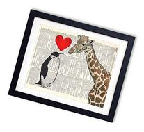 Giraffe And Penguin Love Upcycled Vintage Dictionary Art