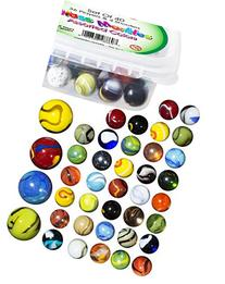 Glass Marbles Bulk, Set of 40,  Assorted Colors, with Game