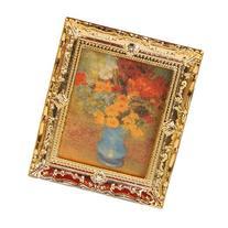 Golden Plastic Frame Flower Oil Painting 1:12 Miniature