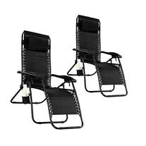 Goplus 2PC Zero Gravity Chairs Lounge Patio Folding Recliner