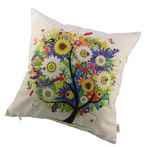 HOSL Flowers Tree Square Decorative Throw Pillow Case