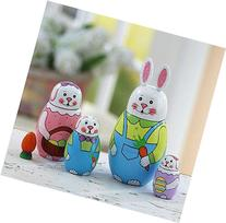"""Hand Painted 6"""" Easter Bunny Nesting Dolls"""