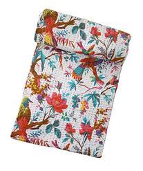 Bird Print Twin Size Kantha Quilt White, Kantha Blanket, Bed