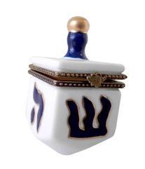 Hanukkah Chanukkah Dreidel Porcelain White & Blue, Gold Trim