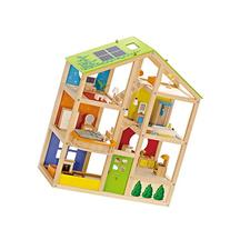 Hape All Seasons Kid's Wooden Doll House Furnished with