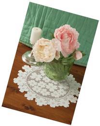 Heritage Lace Round Dogwood Doily, 14-Inch, White, Set of 2