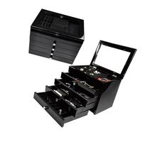 """High Gloss View Top Wood Jewelry Chest, Black, 11 3/4""""W x 9"""""""