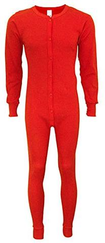 Indera - Mens Tall Long Sleeve Union Suit, Red, 865 19265-XX
