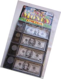 Jaru #3128 Play Money Cash Tray 20 Coins and 20 Bills Kids
