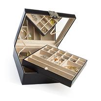 Glenor Co 28 Section Jewelry Box - 2 Layer - Buckle Snap &