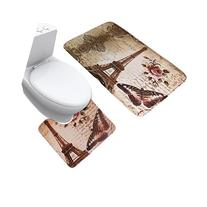 JILLBAN Eiffel Tower Flannel Mat Set Toilet Cover Set Non