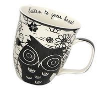 Karma, by Stephen Joseph Boho Black and White Owl Mug,