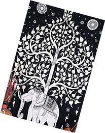 Kayso Elephant Tree Tapestry, White/Black