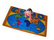 Kids Rug World Map Area Rug 5' x 7' Children Area Rug for