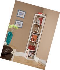 Kings Brand Furniture Wood Wall Corner 5 Tier Bookshelf