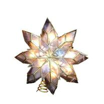 Kurt Adler 9-Inch Capiz Star Tree Topper with 10 Clear