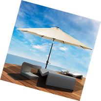 LED steel Pole Patio Solar Umbrella Outdoor Beach Garden