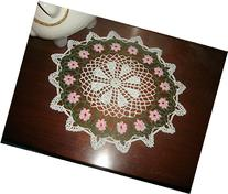 Lace Doily with Pink Spring Flowers, Spring Decor, Easter