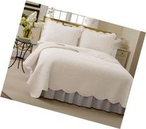 Lifestyles French Tile Queen Quilt, White