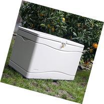 Lifetime Outdoor Deck Storage Box 80 Gallon. Sand W/Black