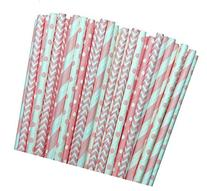 Light Pink Stripe, Polka Dot Chevron Paper Straws 7.75