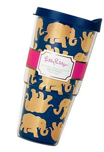 Lilly Pulitzer Double Walled Tumbler, Tusk in sun Navy