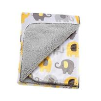 Little Bedding by NoJo Elephant Time Velboa Blanket, Yellow