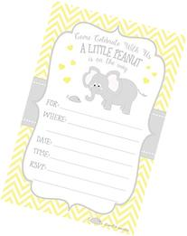 Little Peanut Elephant Baby Shower Invitations - Boy or Girl
