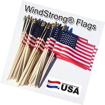 Lot of -50- 4x6 Inch US American Hand Held Stick Flags Spear