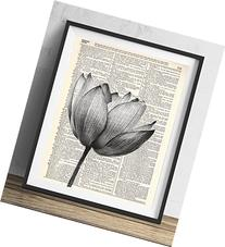 Lotus Flower Upcycled Vintage Dictionary Art Print 8x10