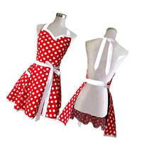Lovely Sweetheart Red Retro Kitchen Aprons Woman Girl Cotton