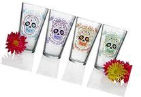 Luminarc Sugar Skulls Assorted Decorated Pub Glasses , 16 oz