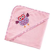 Luvable Friends Hooded Towel, Pink Owl