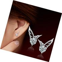 MANDI HOME Shining Angel Wings Shape Crystal Silver Earring