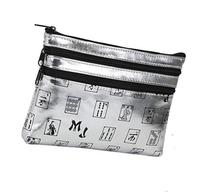 Mah Jongg Silver 3 Zipper Mah Jong Purse for Mahjong Card