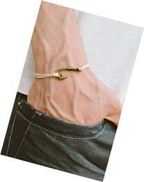 Men's bracelet, fish hook bracelet for men, beige cord with
