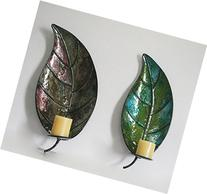 Vintage Holiday Gifts Metal Leaf Wall Mounted Candle Holder
