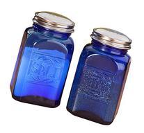 Miles Kimball Cobalt Blue Depression Style Glass Salt &
