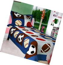 Mk Collection 2 Pc Bedspread Boys Sport Football Basketball