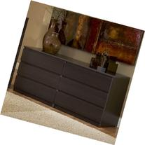 Modern Danish 6-drawer Long Dresser Brown Espresso Chocolate