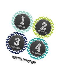 Months in Motion 072 Monthly Baby Stickers Baby Boy Month 1-