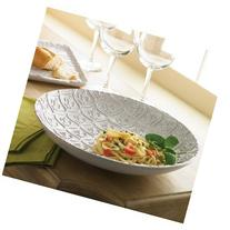 Mud Pie 150060 Fleur De Lis Pasta Bowl Milk Glazed