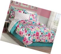 My Room Peace Out Girls Comforter Set With Bedskirt, Teal,